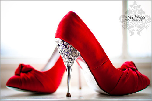 red wedding shoes with diamonte heels
