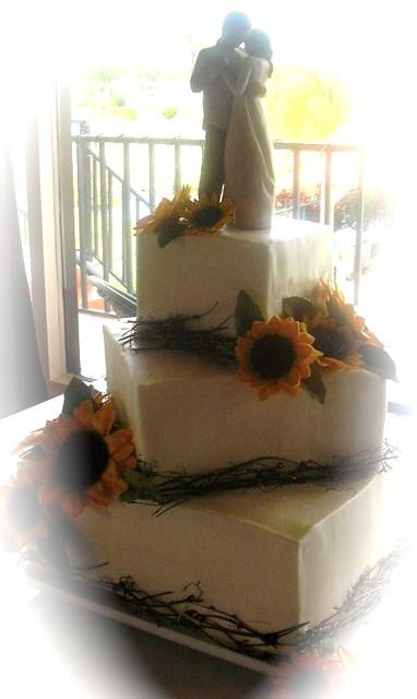 Sunflower Rustic Wedding Cake Offset Square Wedding