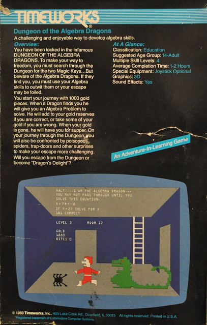 Timeworks / Commodore 64 - DUNGEON OF THE ALGEBRA DRAGONS