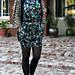 cynthia steffe silk dress+blouse+vest+tights+sunglasses+heels+shoes+print mixing