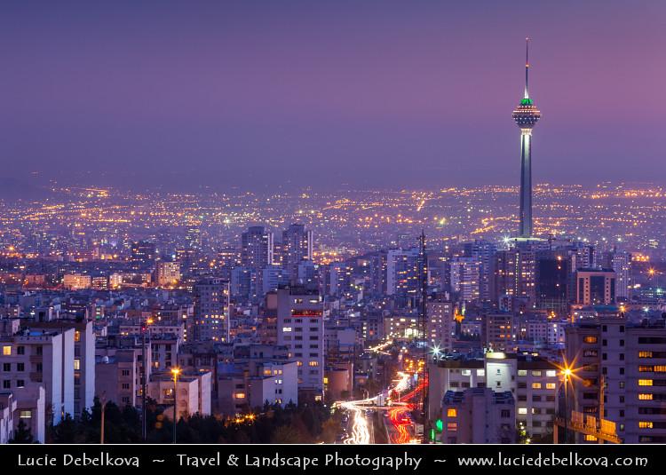 Iran Dusk Over Tehran Cityscape Amp Borj E Milad Milad T