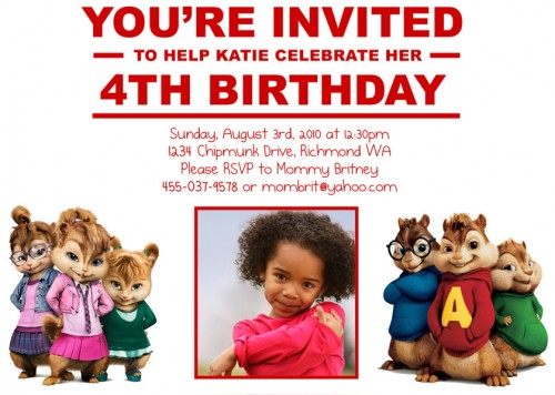 Alvin and The Chipmunks The Chipettes- Custom Birthday Inv ...