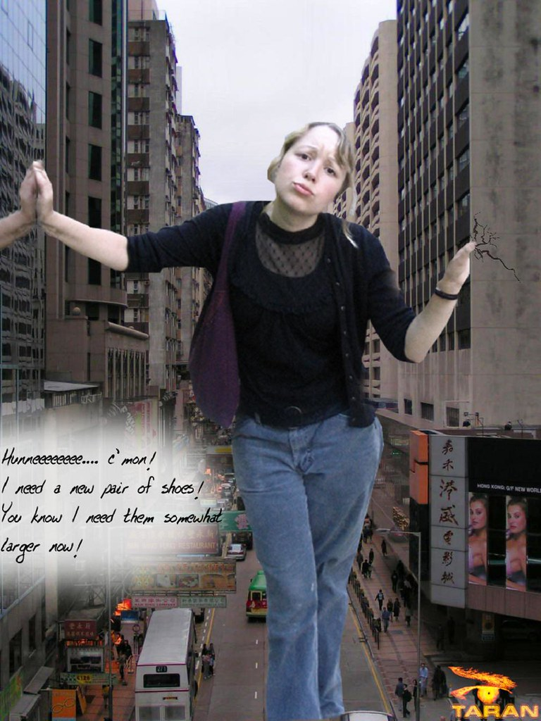 lovely giantess wife sara pouting crushing building | Flickr