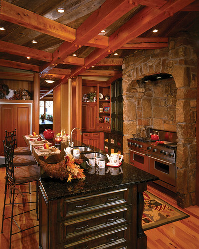 Four Suns Timber Frame Home Kitchen The Kitchen Is