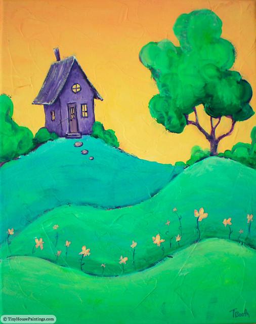 Tiny Purple House At Sunrise Original Acrylic Landscape