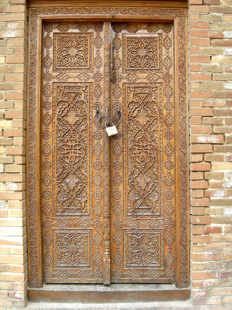 Carved wooden doors on old mosque samarkand