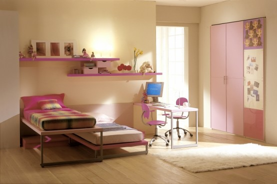 15 cool ideas for pink girls bedrooms 10 home space flickr for Girl bedroom ideas for small spaces