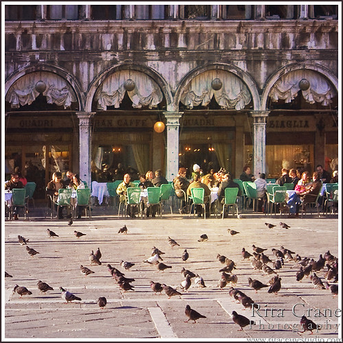 Rita Crane Photography: Italy / Venice / Piazza San Marco / people  / architecture / pigeons /  St. Mark's Square / Spring Afternoon at the Gran Caffe Quadri, Piazza San Marco, Venice | by Rita Crane Photography