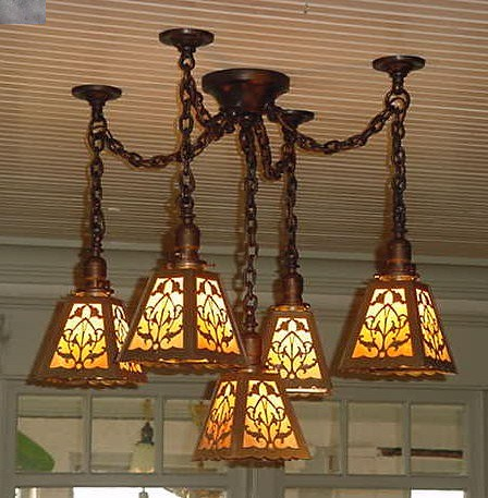 Ceiling light fixture arts crafts for Arts and crafts light
