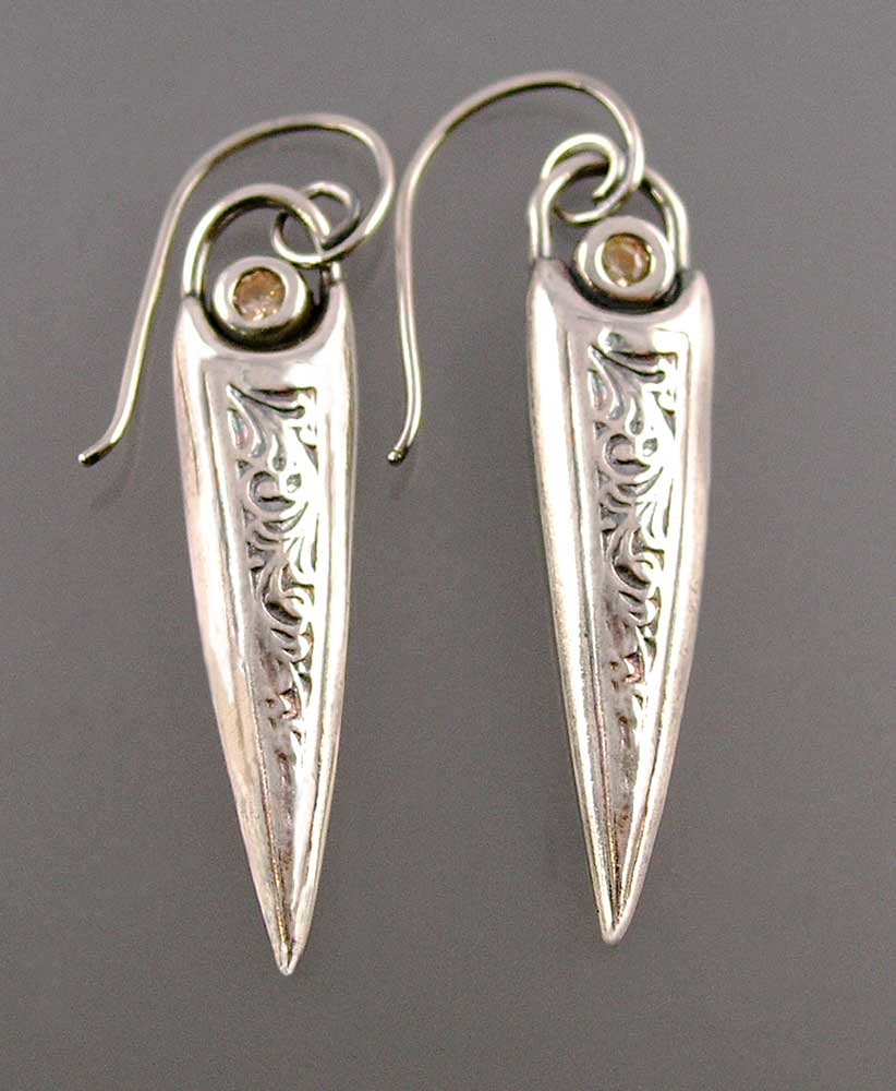 Sword earrings pmc fine silver sterling silver wires for Nancy b fine jewelry