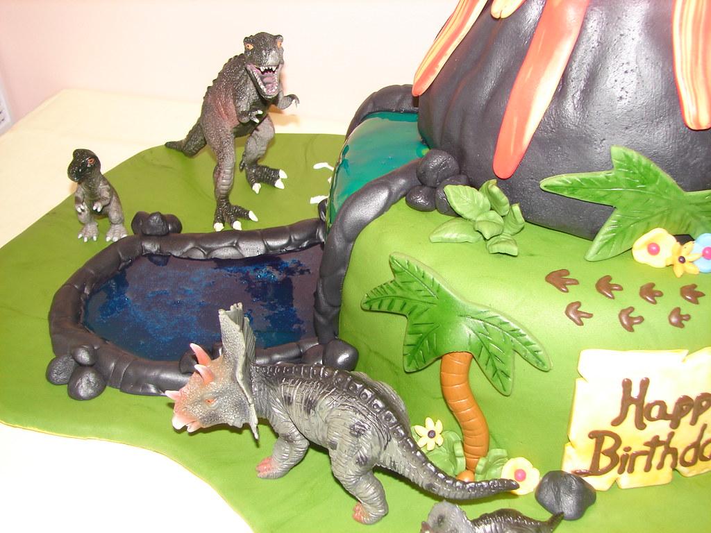 Dinosaur Birthday Cake With Volcano And River Dinosaur Bir Flickr