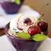 Roasted Cherry Vanilla Ice Cream with Dark Chocolate