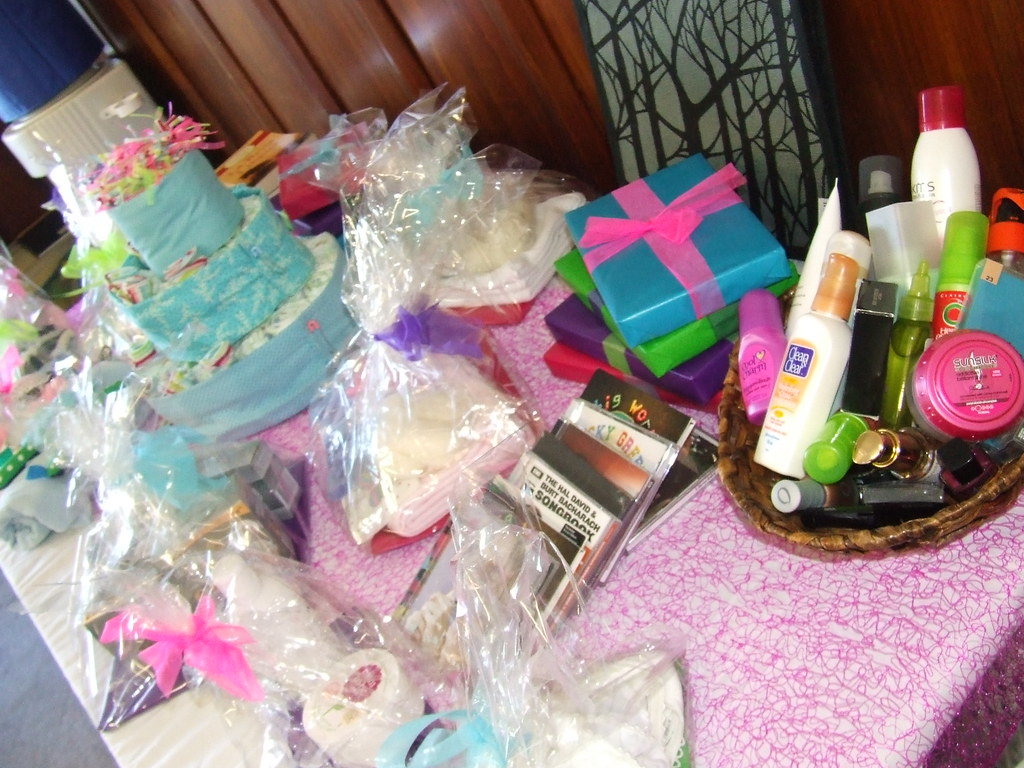 baby shower prize table all of these prizes were donated flickr
