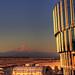Portland International Airport Long-Term Parking Garage with Mount Hood at Sunset