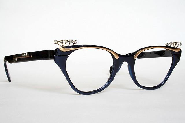 Royal Blue Glasses Frames : Royal Blue and Gold Cat Eye Glasses Frames with ...