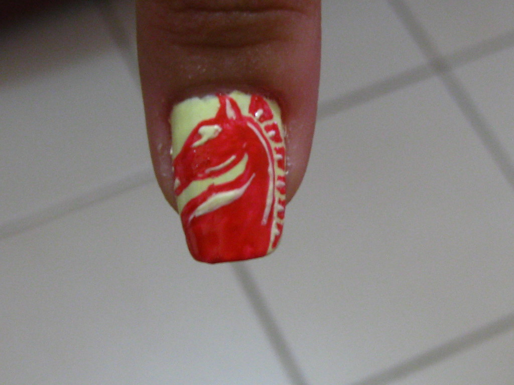 Nail Art Red Horse beer logo | Nail art requested by Shamman… | Flickr
