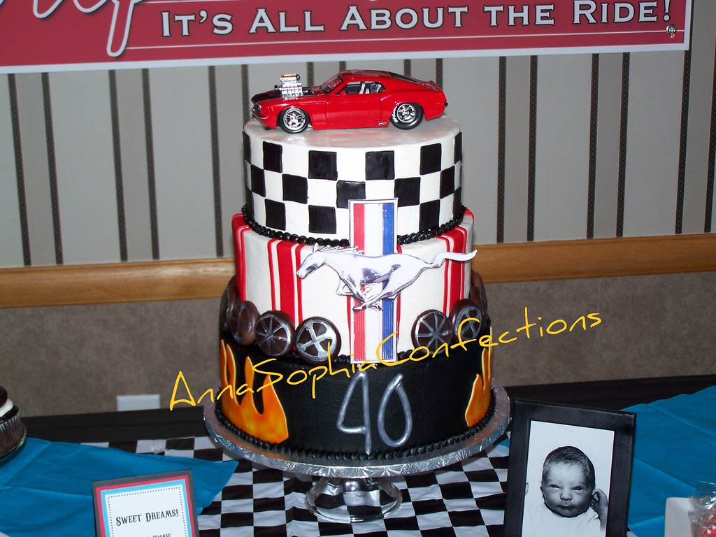 40th Birthday Cake Mustang Cobra Cake 3 Tier Vanilla