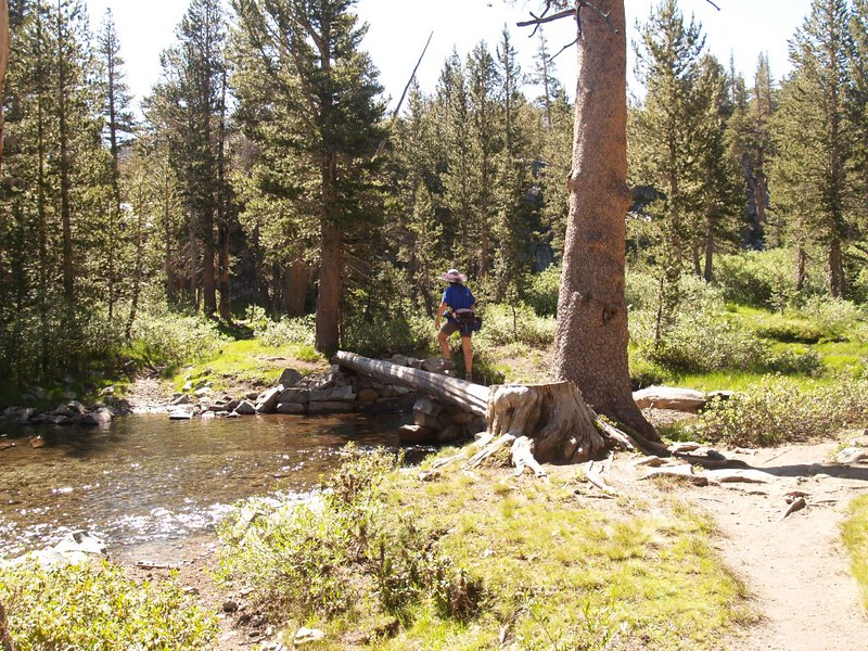 Vicki crosses Rush Creek via log bridge on the PCT