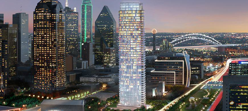 Museum Tower Rendering Seen With The Downtown Dallas Finan