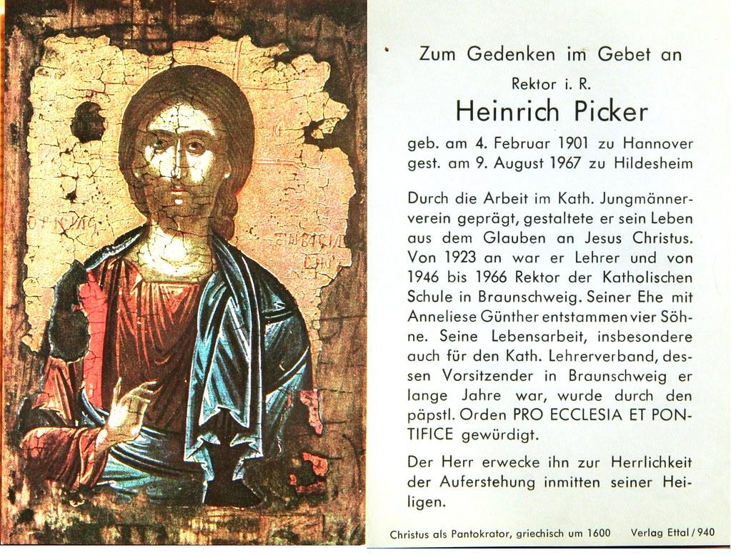 Totenzettel Picker, Heinrich Rektor † 09.08.1967
