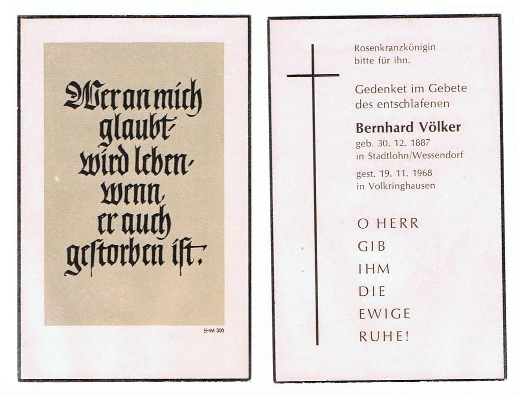Totenzettel Völker, Bernhard † 19.11.1968