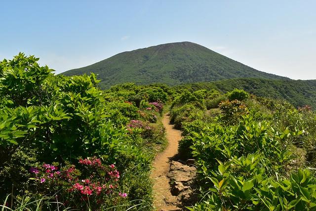 大浪池から韓国岳へ延びる登山道