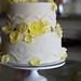 Yellow Roses over Emboss Wedding Cake