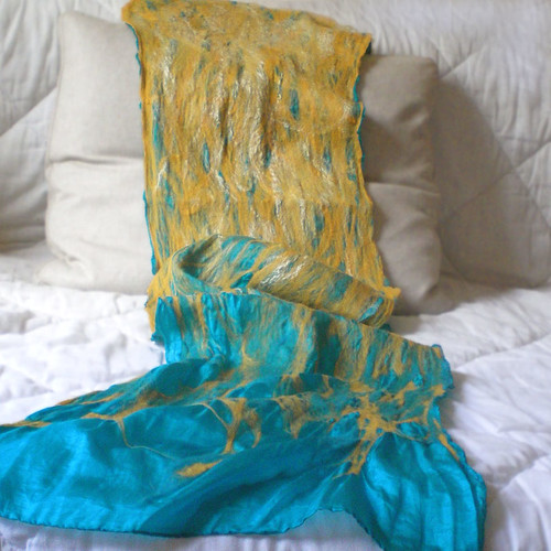 nuno felted scarf -waterloo- | by QaraQul