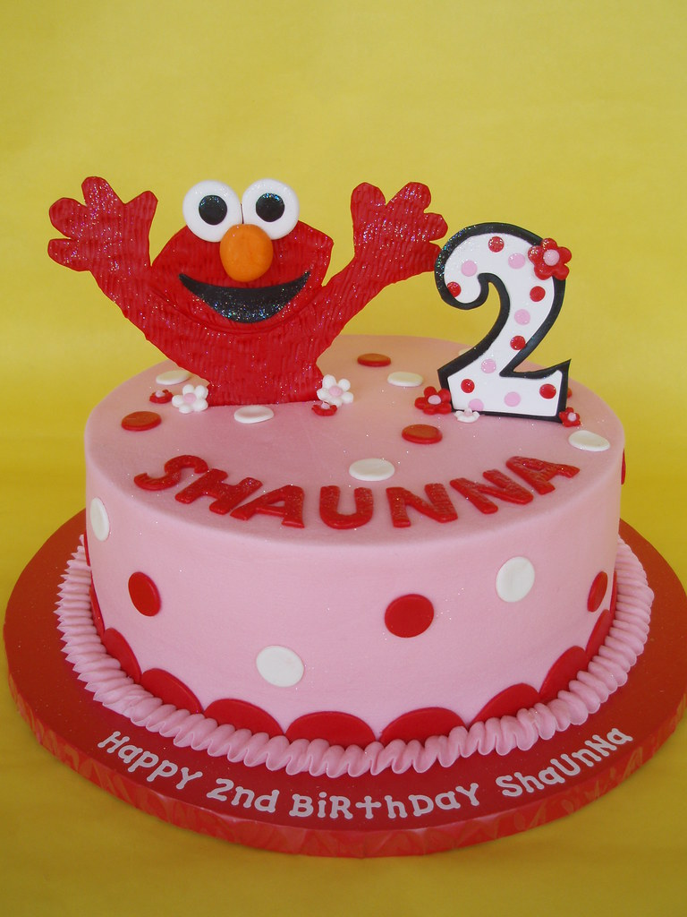 Cake Ideas For 2nd Birthday Girl : Little Girl Elmo Birthday Cake A happy Elmo jumps out of ...