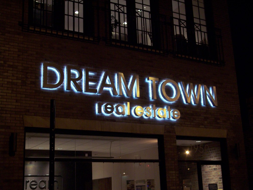 Dream Town Exterior Lighted Signs Backlit Halo Lit