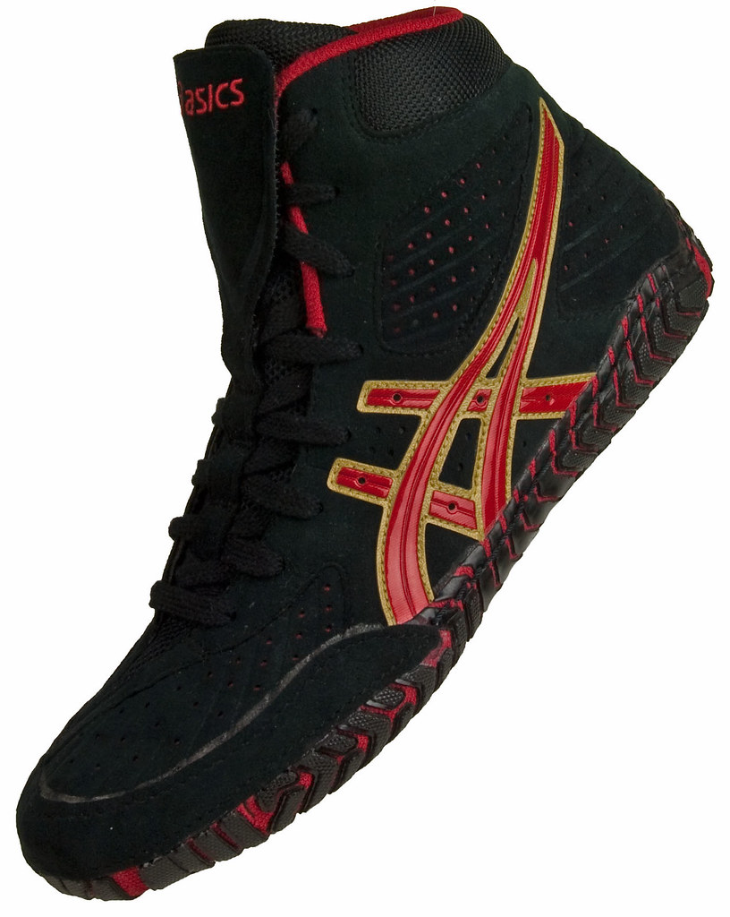 Asics Aggressor Wrestling Shoe Black and Red 11   Buy the ...