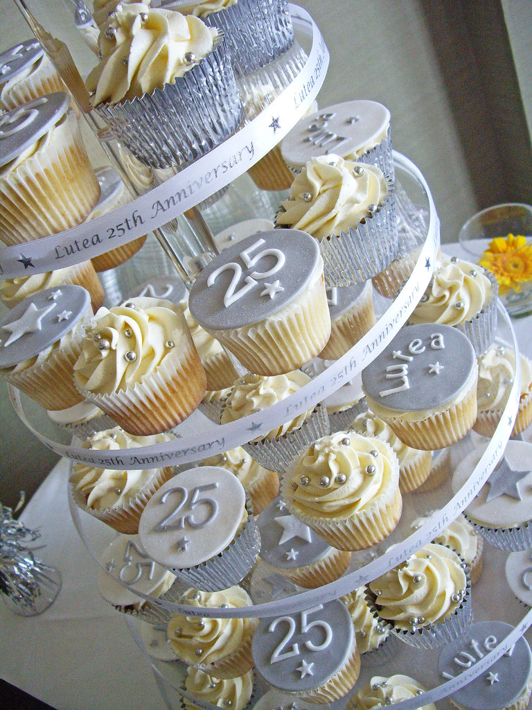 Anniversary cupcake tower cupcake tower for a trust for 25th birthday decoration
