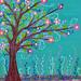 Happy Tree Mixed Media Art Painting by Sascalia