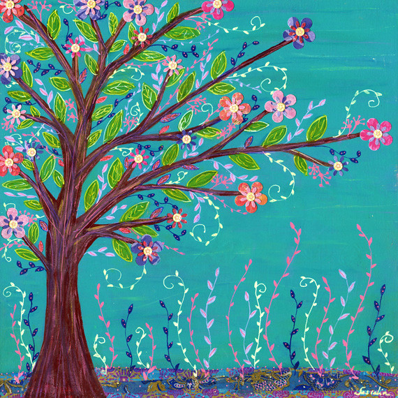 happy tree mixed media art painting by sascalia my new