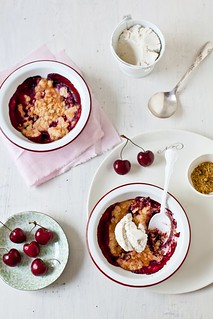 Cherry & Plum Crumble With Goat Cheese Ice Cream | by tartelette