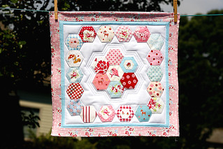 Red Pink & Aqua Hexagon Pillow Top | by Little Miss Shabby