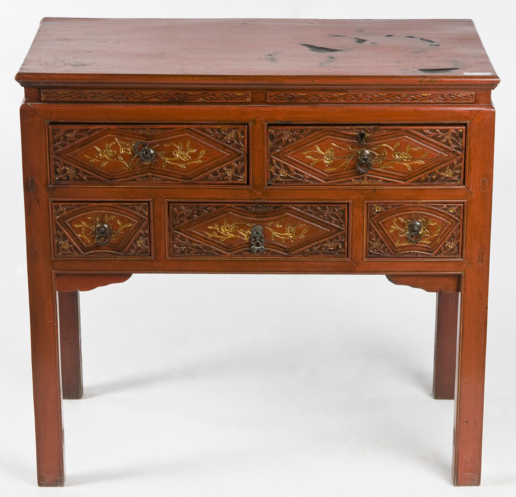 Li1009y asian antique end table asian console cabinet for Asian console cabinet