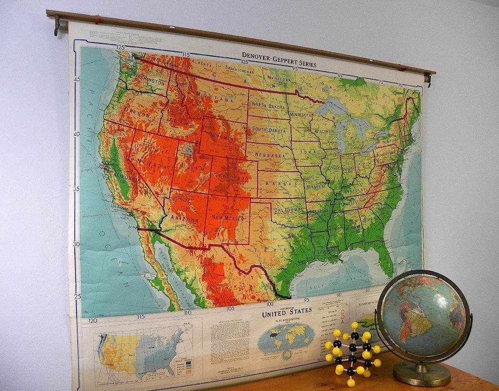 Vintage Classroom Pull Down Map, United States, Denoyer Ge… | Flickr