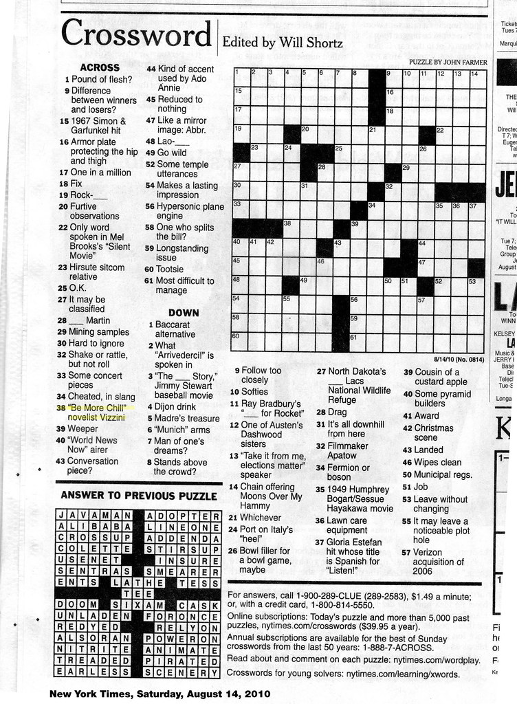 Terrible image inside printable ny times crossword puzzles