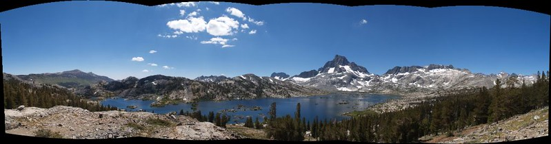 Panorama of Thousand Island Lake with San Joaquin, the Minarets, Banner, Davis, and Rodgers Peaks