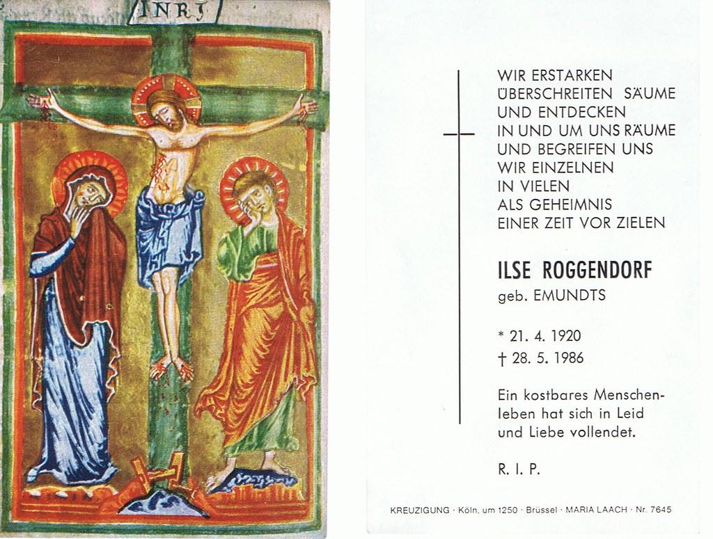 Totenzettel Roggendorf, Ilse † 28.05.1986
