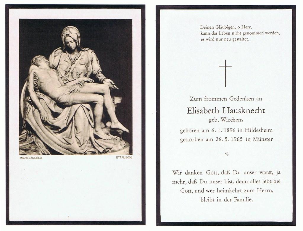 Totenzettel Wiechens, Elisabeth † 26.05.1965