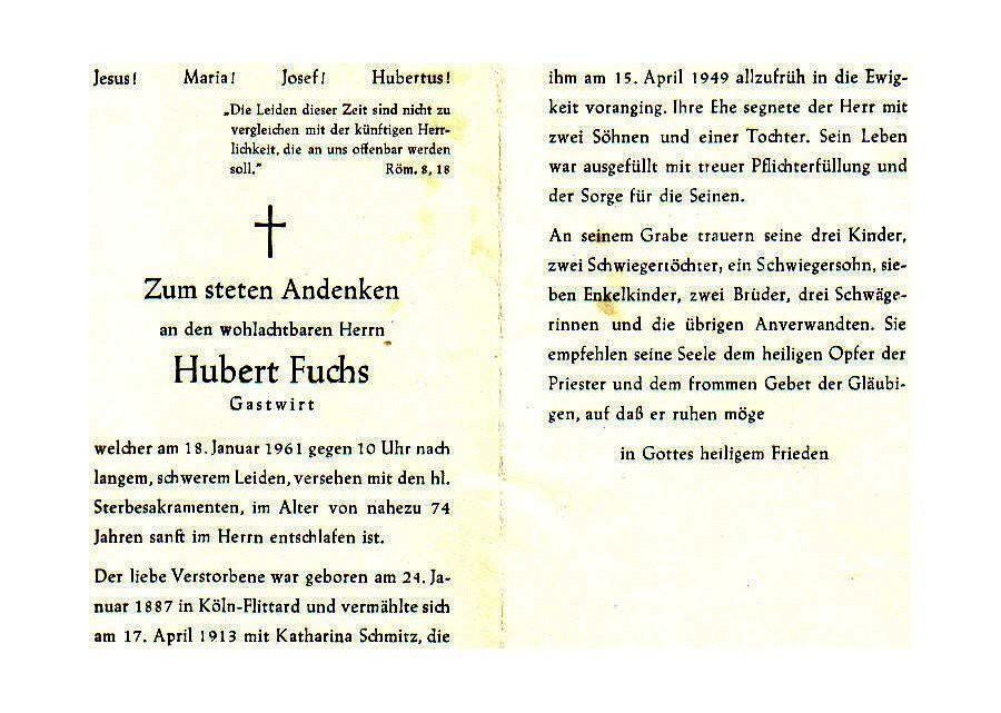 Totenzettel Fuchs, Hubert † 18.01.1961