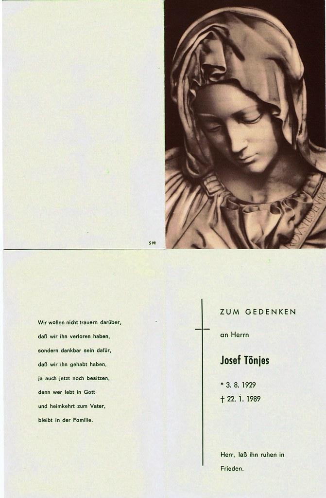 Totenzettel Tönjes, Josef † 22.01.1989