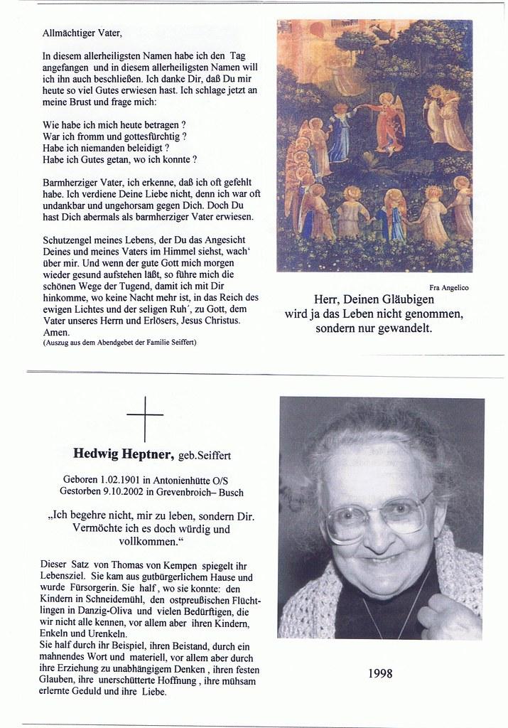 Totenzettel Heptner, Hedwig geb. Seiffert † 09.10.2002