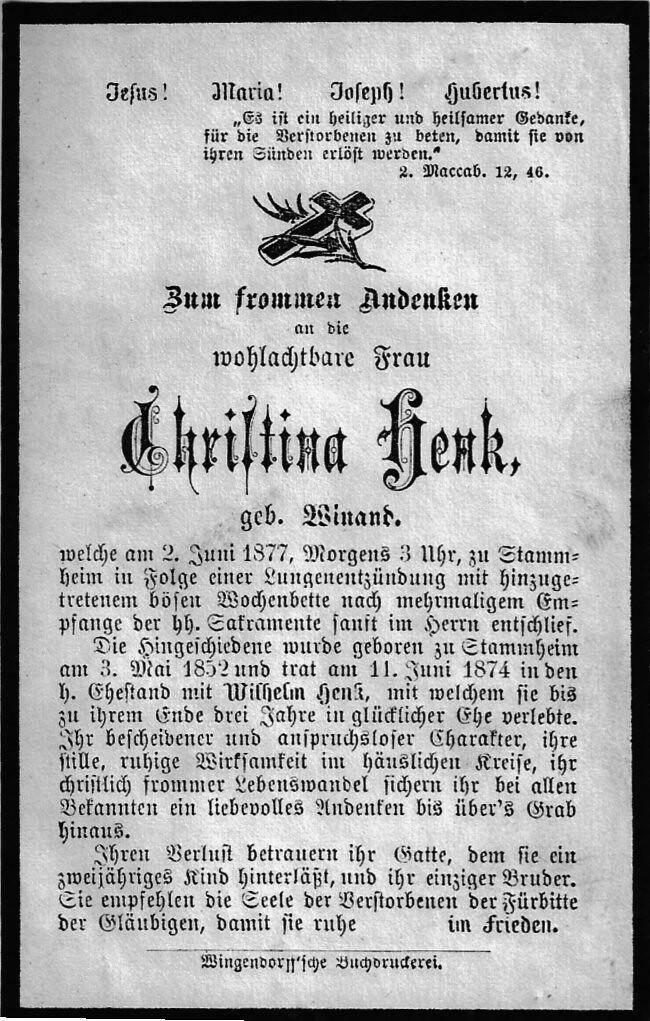 Totenzettel Henk, Christina † 02.06.1877