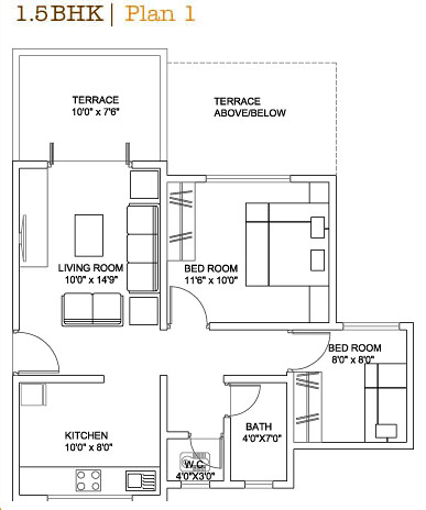 Best floor plan in Pune: 1.5 BHK Flat: Option 1 | Ravi ...
