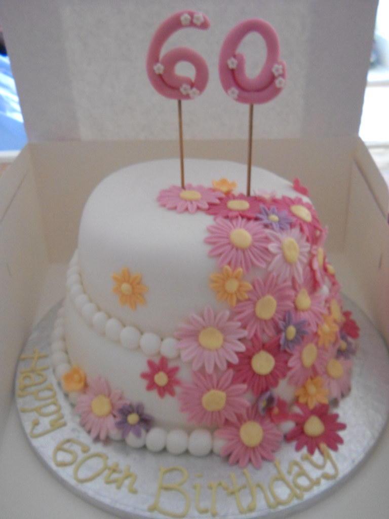2 Tier 60th Birthday Pink Daisy Cake