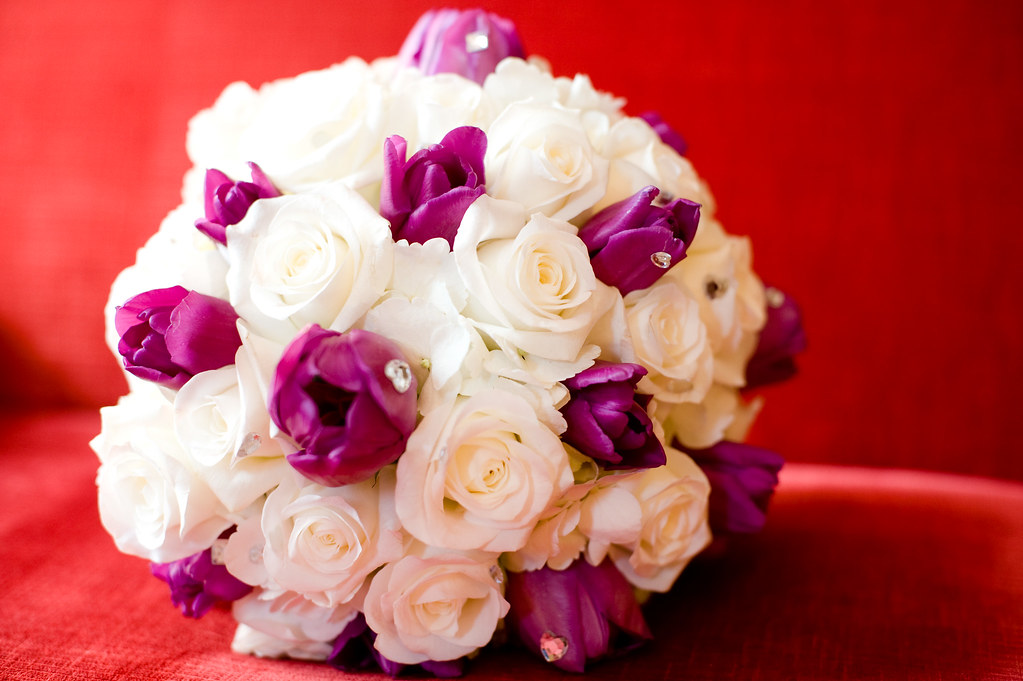 Wedding bouquet with white roses and purple tulips with rh…   Flickr