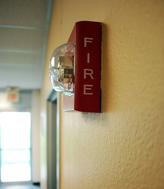 fire alarm with strobe light at resource center flickr photo. Black Bedroom Furniture Sets. Home Design Ideas